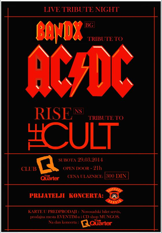 BANDX (AC/DC), RISE (The Cult) - Klub Quarter - Novi Sad, Tiket Klub