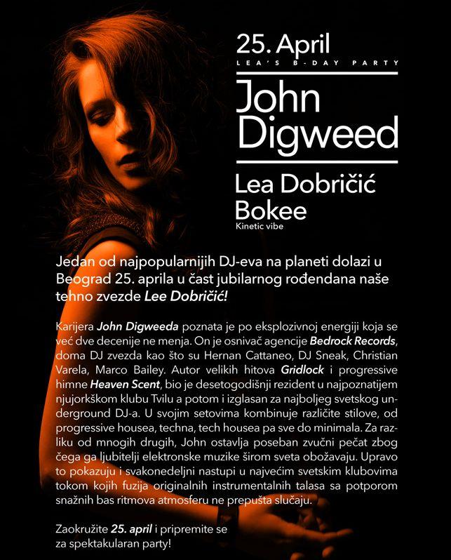 JOHN DIGWEED - Luka Beograd, Tiket Klub